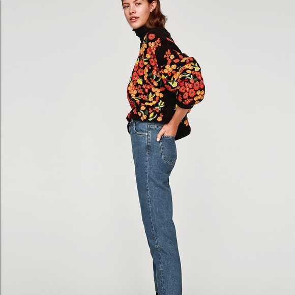 445761567e NWT Zara High Rise Tapered Mom Fit Jeans